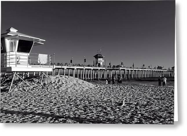 Panoramic Ocean Greeting Cards - Lifeguard Stand And Pier - Huntington Beach California Greeting Card by Mountain Dreams