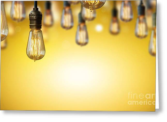Candle Lit Greeting Cards - Light Bulb Background Greeting Card by Setsiri Silapasuwanchai