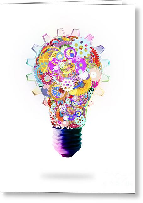 Industrial Background Digital Art Greeting Cards - Light Bulb Design By Cogs And Gears  Greeting Card by Setsiri Silapasuwanchai