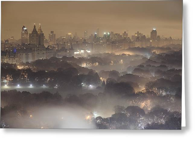 Light Pollution Greeting Cards - Light Pollution And Fog Combine To Blur Greeting Card by Jim Richardson