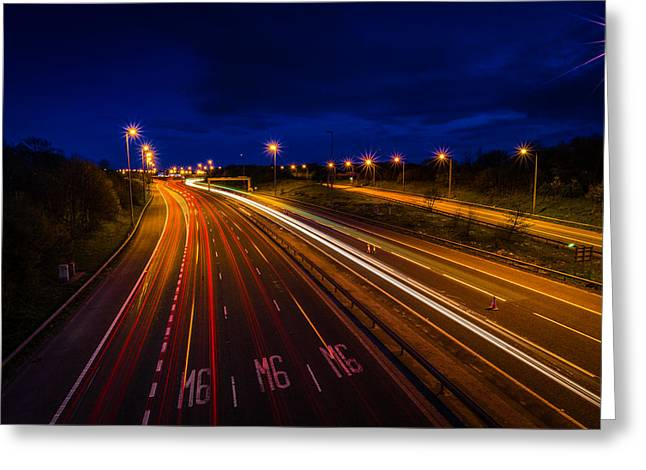 Light Trails On The M6 Motorway. Greeting Card by Daniel Kay