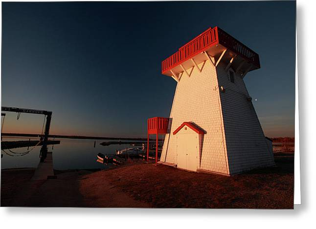 Docked Boats Digital Greeting Cards - Lighthouse and marina at Hecla in Manitoba Greeting Card by Mark Duffy