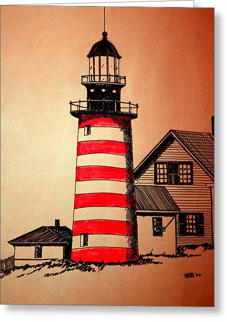 Maine Lighthouses Mixed Media Greeting Cards - Lighthouse Greeting Card by Doug Mills