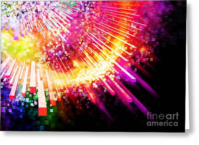 Abstract Movement Greeting Cards - Lighting Explosion Greeting Card by Setsiri Silapasuwanchai