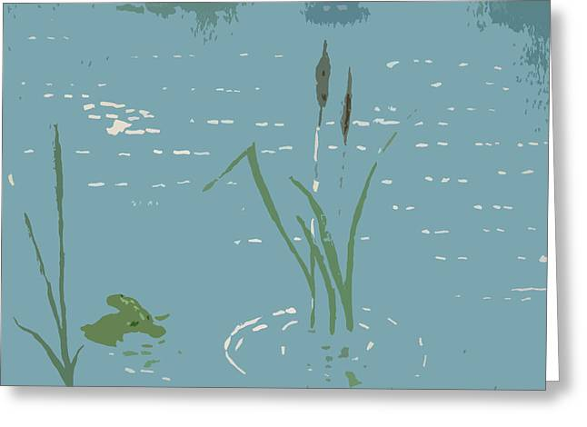 Willow Lake Digital Art Greeting Cards - Lily Pad with Frog Greeting Card by Ted Kitchen