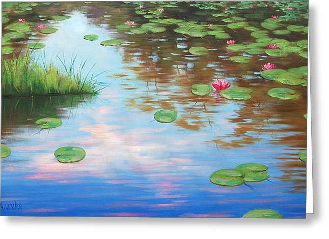 Lily Pond Greeting Card by Graham Gercken