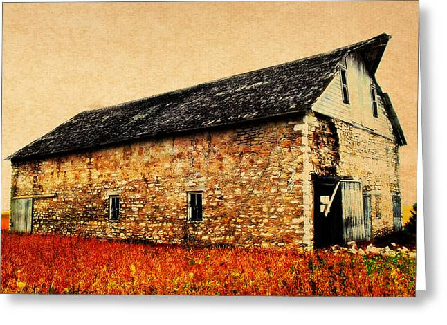 Scenic Barn Greeting Cards - Lime Stone Barn Greeting Card by Julie Hamilton