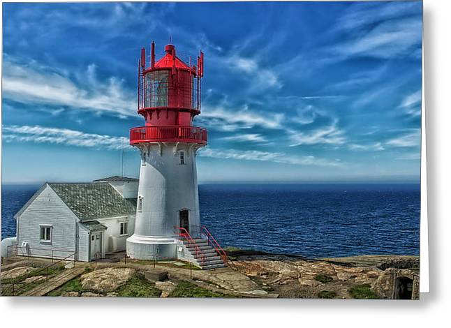 Panoramic Ocean Greeting Cards - Lindesnes Lighthouse Norway Greeting Card by Frank Hofmann