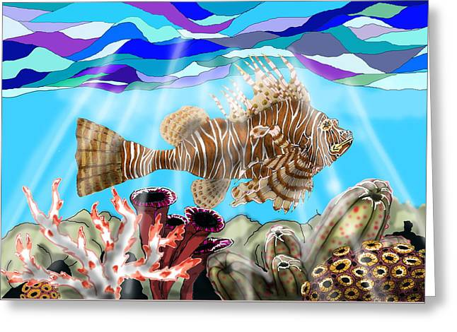 South Pacific Drawings Greeting Cards - Lion Fish Greeting Card by Mike Moss