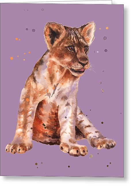 Lion Illustrations Greeting Cards - Lion Painting Greeting Card by Alison Fennell