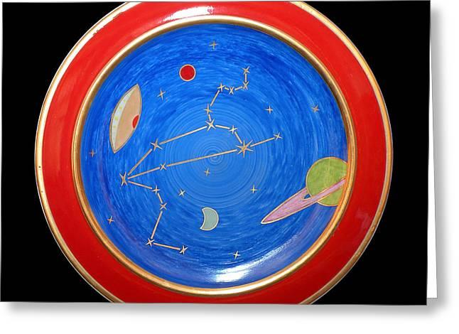 Constellations Ceramics Greeting Cards - Lion. Greeting Card by Vladimir Shipelyov