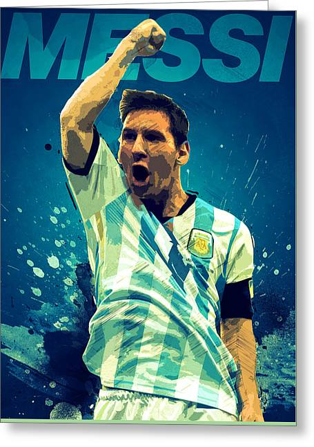 Lionel Messi Greeting Cards - Lionel Messi Greeting Card by Semih Yurdabak