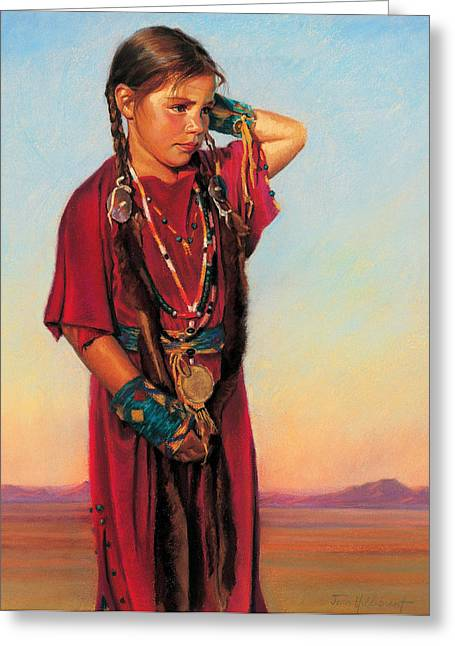 Native American Girl Greeting Cards - Little American Beauty I Greeting Card by Jean Hildebrant