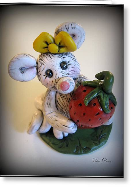 Polymer Clay Greeting Cards - Little Mouse Big Strawberry Greeting Card by Trina Prenzi