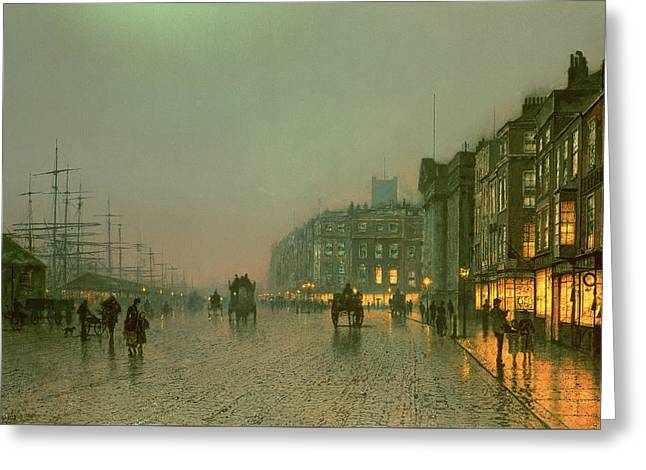Liverpool Docks From Wapping Greeting Cards - Liverpool Docks From Wapping Greeting Card by John Atkinson Grimshaw