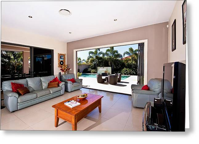 Sliding Glass Door Greeting Cards - Living Room With Pool View Greeting Card by Darren Burton