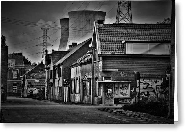 Power Plants Greeting Cards - Living Under A Nuclear Umbrella Greeting Card by Hans Deruiter