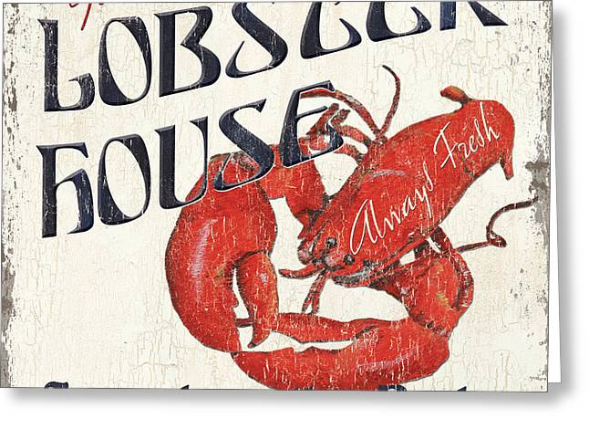 Red Claws Greeting Cards - Lobster House Greeting Card by Debbie DeWitt