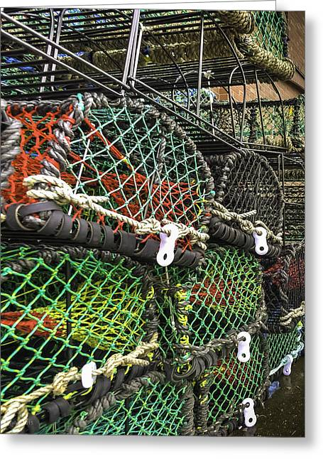 Keyside Greeting Cards - Lobster Pots and Ropes Greeting Card by Mike Walker