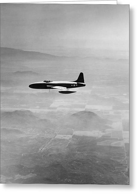 Fighter Star Fighter Greeting Cards - Lockheed P-80 Shooting Star Greeting Card by Underwood Archives