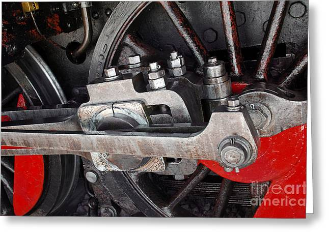Antique Photographs Greeting Cards - Locomotive Wheel Greeting Card by Carlos Caetano