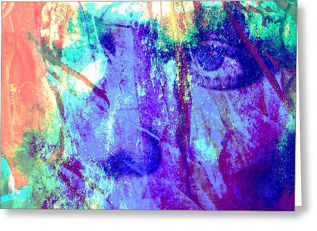 Design Pics Mixed Media Greeting Cards - Lola Abstract Portrait Greeting Card by Rich  Ray Art