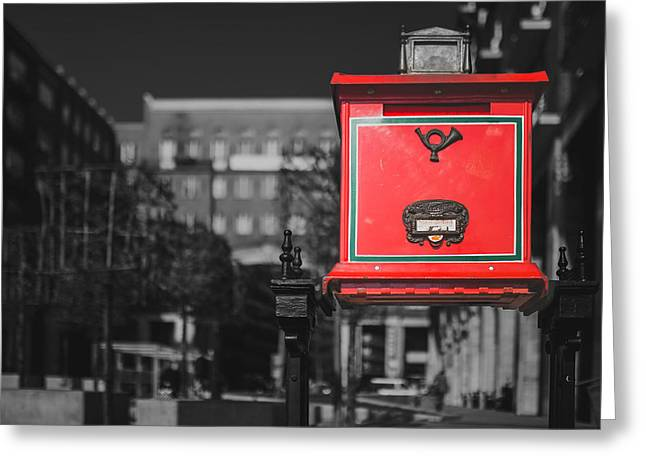 Postal Greeting Cards - London Postal Box Greeting Card by Negative Space