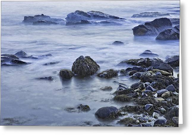 Maine Beach Greeting Cards - Long Exposure of Ocean waves at Sunset. Greeting Card by Keith Webber Jr