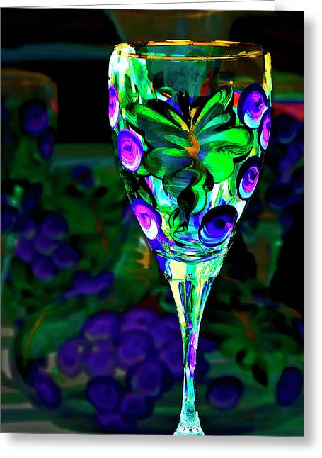 Painted Glass Greeting Cards - Long Stemmed Glass Greeting Card by Dale Stillman