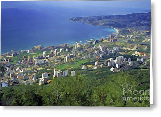 Sami Sarkis Greeting Cards - Looking over Jounieh Bay from Harissa Greeting Card by Sami Sarkis