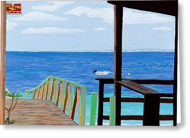 Lookout Along Grand Case Beach Greeting Card by Margaret Brooks