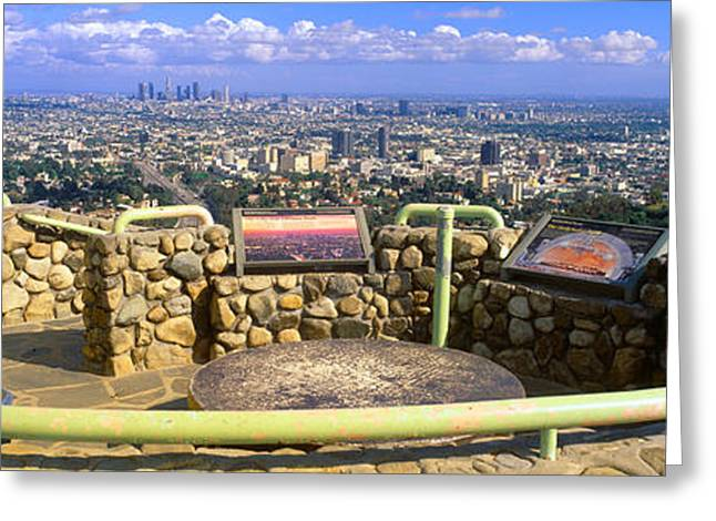 Outlook Greeting Cards - Los Angeles Skyline From Mulholland Greeting Card by Panoramic Images