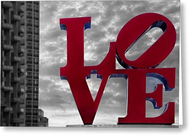 Phila Greeting Cards - Love Park BW Greeting Card by Susan Candelario
