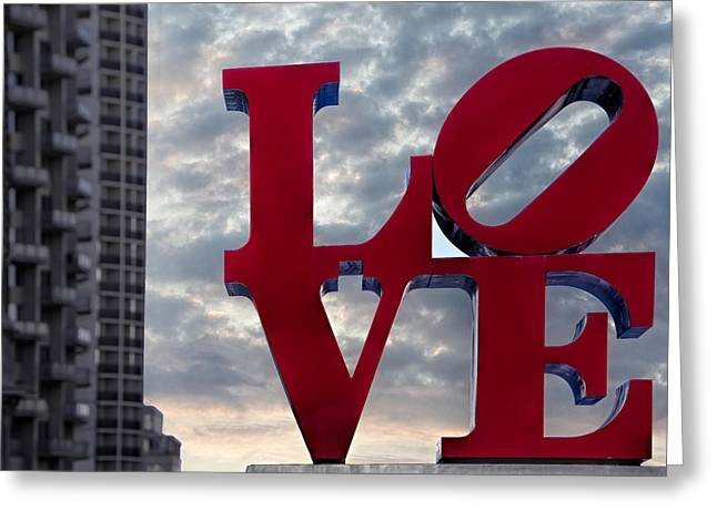 Phila Greeting Cards - Love Park  Greeting Card by Susan Candelario