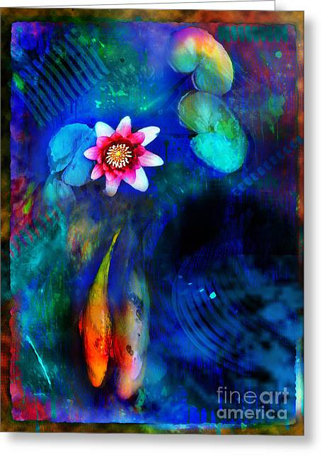 Koi Pond Greeting Cards - Lovers Greeting Card by Gina Signore