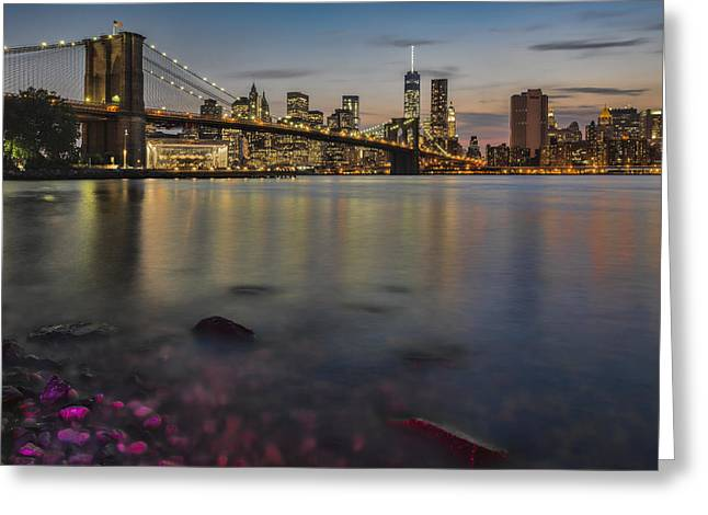 World Trade Centre Greeting Cards - Lower Manhattan At Twilight Greeting Card by F. M. Kearney
