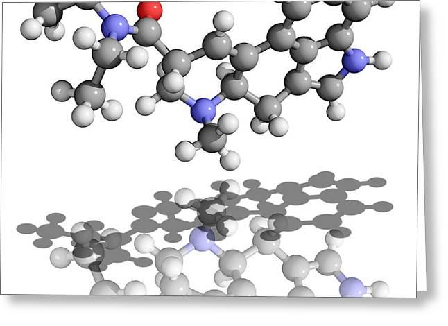 Molecular Model Greeting Cards - Lsd Drug Molecule Greeting Card by Laguna Design