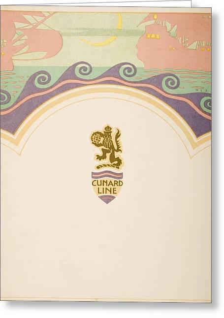 Menu Greeting Cards - Luncheon Menu. Cunard Line. R.m.s Greeting Card by Vintage Design Pics