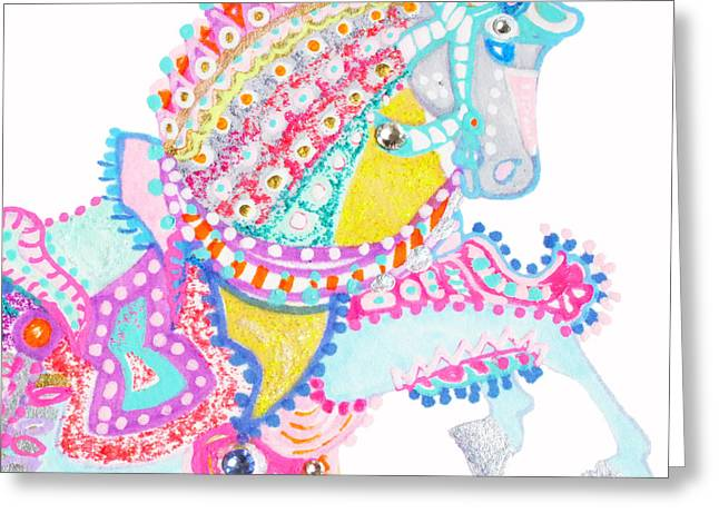 Puppy Digital Art Greeting Cards - Luxury Horse by Keira Lagunas Greeting Card by Keira  Lagunas