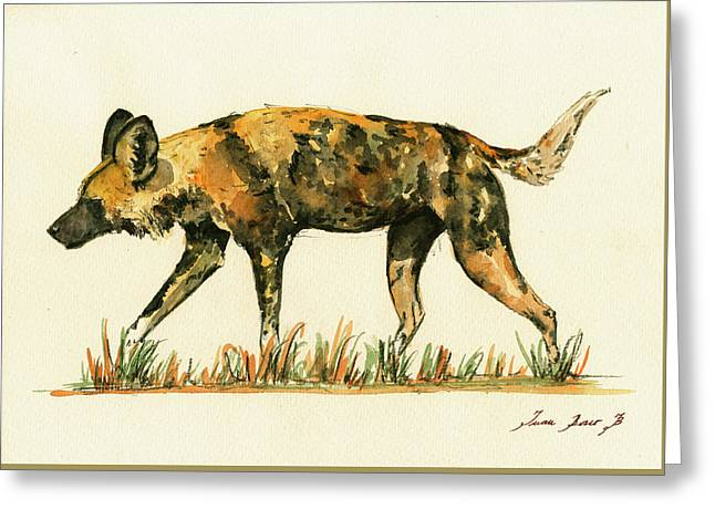 Dog Posters Greeting Cards - Lycaon wild dog Greeting Card by Juan  Bosco