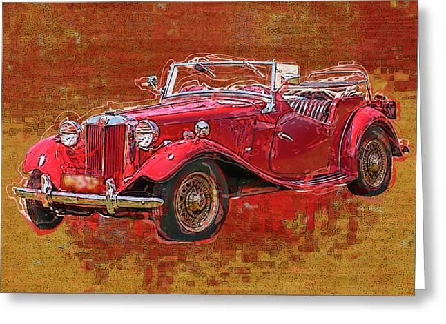 M G - Classic British Sports Car Greeting Card by Jack Zulli