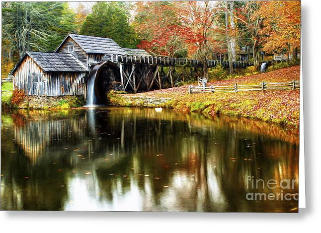 Mabry Mill Autumn Greeting Card by Darren Fisher