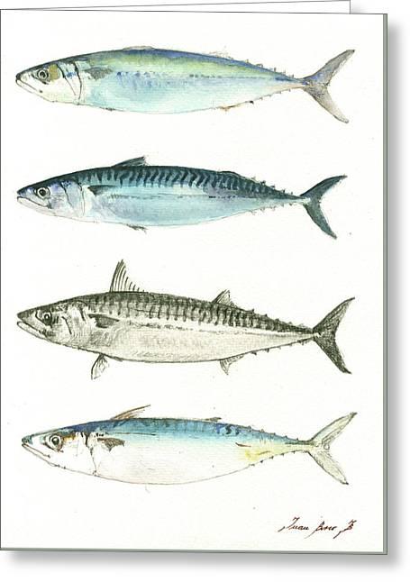Mackerel Fishes Greeting Card by Juan Bosco