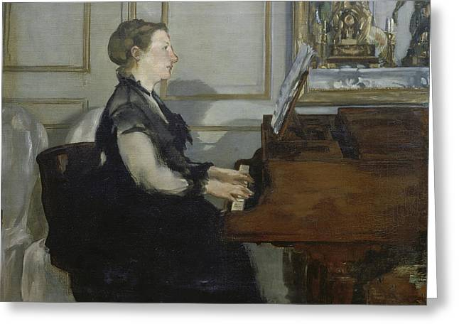 Music; Room; Interior; Female; Musician; Musicians; 19th; 20th; Harp; Harpist; Piano; Pianist; Musical Instrument; Instruments; Recital; Playing; Performing Greeting Cards - Madame Manet Greeting Card by Edouard Manet