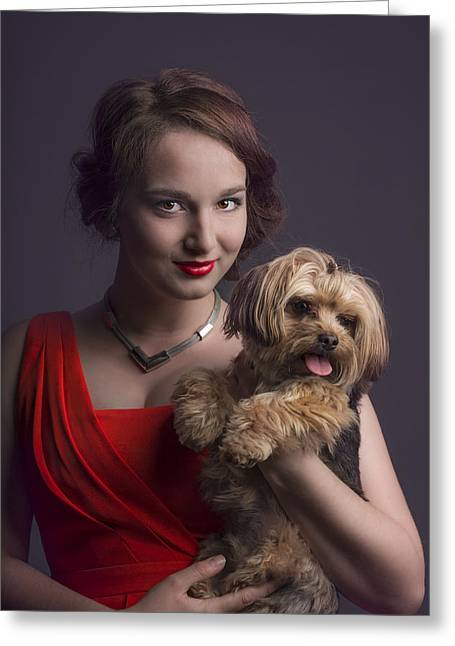 Doggy Clothes Greeting Cards - Madame with Yorky  Greeting Card by Peter Lakomy