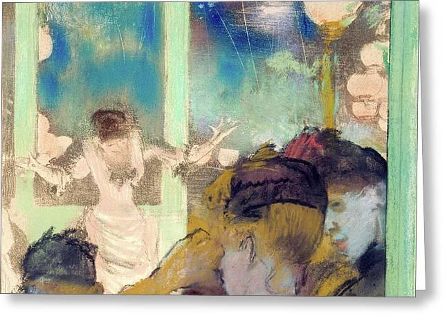 Cafe Pastels Greeting Cards - Mademoiselle Becat at the Cafe des Ambassadeurs Greeting Card by Edgar Degas