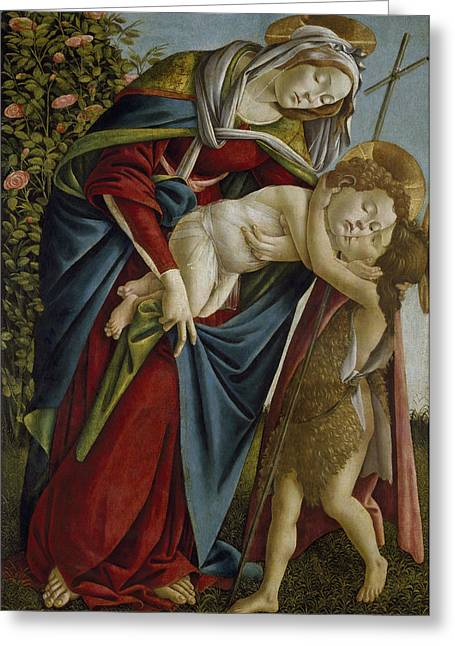 Madonna And Child And The Young St John The Baptist Greeting Card by Sandro Botticelli