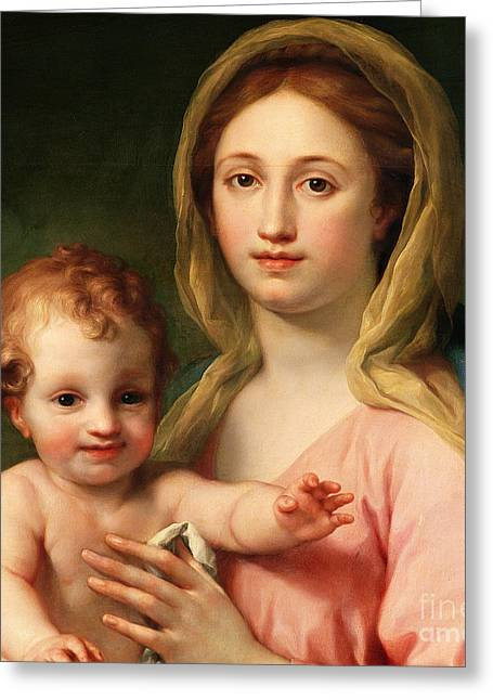 Baby Jesus Paintings Greeting Cards - Madonna and Child Greeting Card by Anton Raphael Mengs