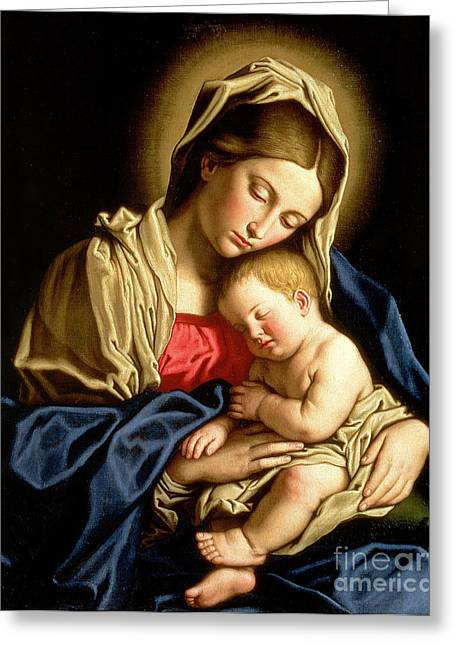 Virgin Mary Greeting Cards - Madonna and Child Greeting Card by Il Sassoferrato