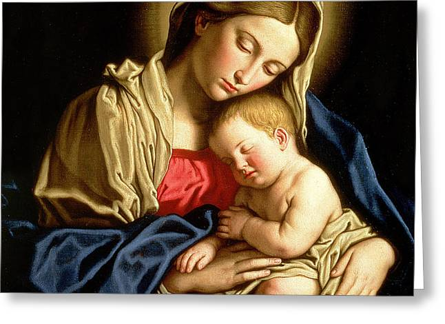 Madonna and Child Greeting Card by Il Sassoferrato